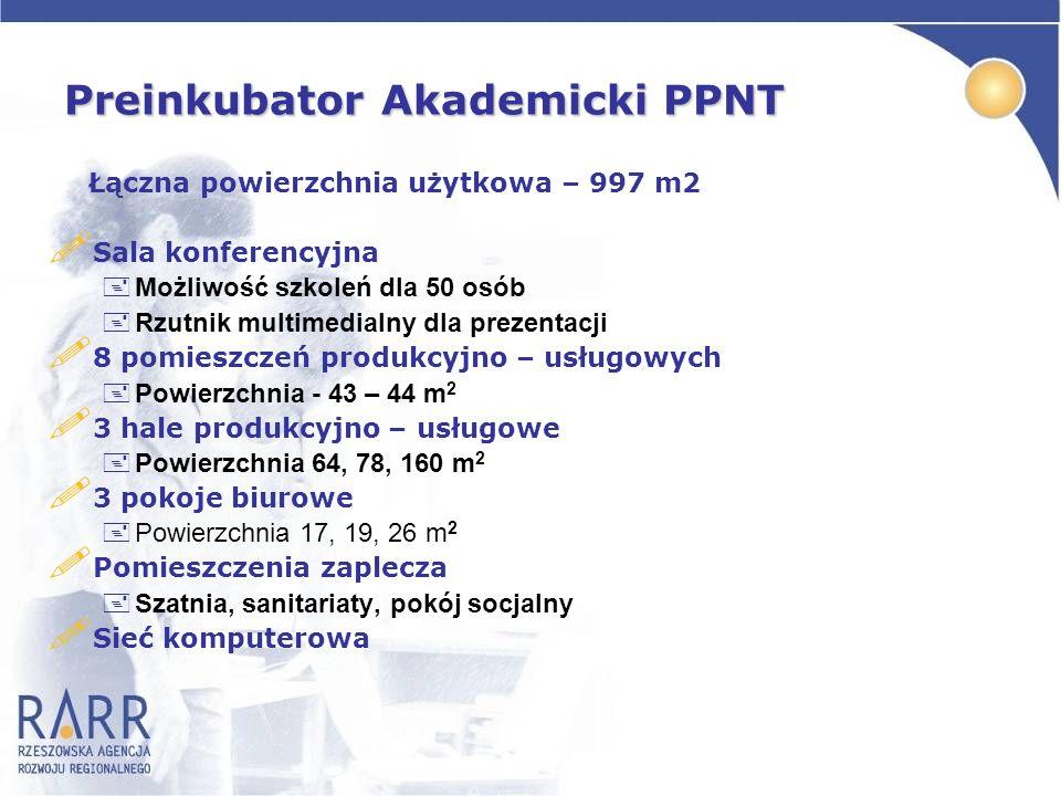 Preinkubator Akademicki PPNT Łączna powierzchnia użytkowa – 997 m2 ! Sala konferencyjna +Możliwość szkoleń dla 50 osób +Rzutnik multimedialny dla prez