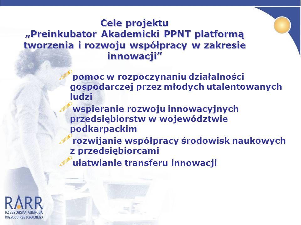 Cele projektu Preinkubator Akademicki PPNT platformą tworzenia i rozwoju współpracy w zakresie innowacji ! pomoc w rozpoczynaniu działalności gospodar