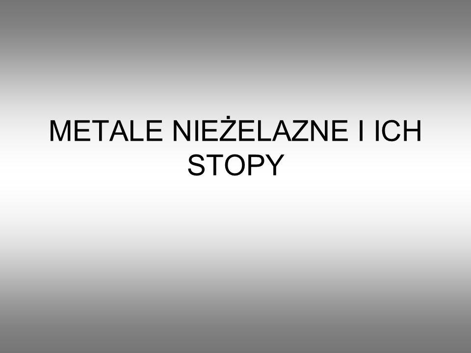 Metale nieżelazne najczęściej stosowane: Miedź Ołów Cynk Cyna Aluminium Nikiel Są drogie i dlatego rzadko stosowane.