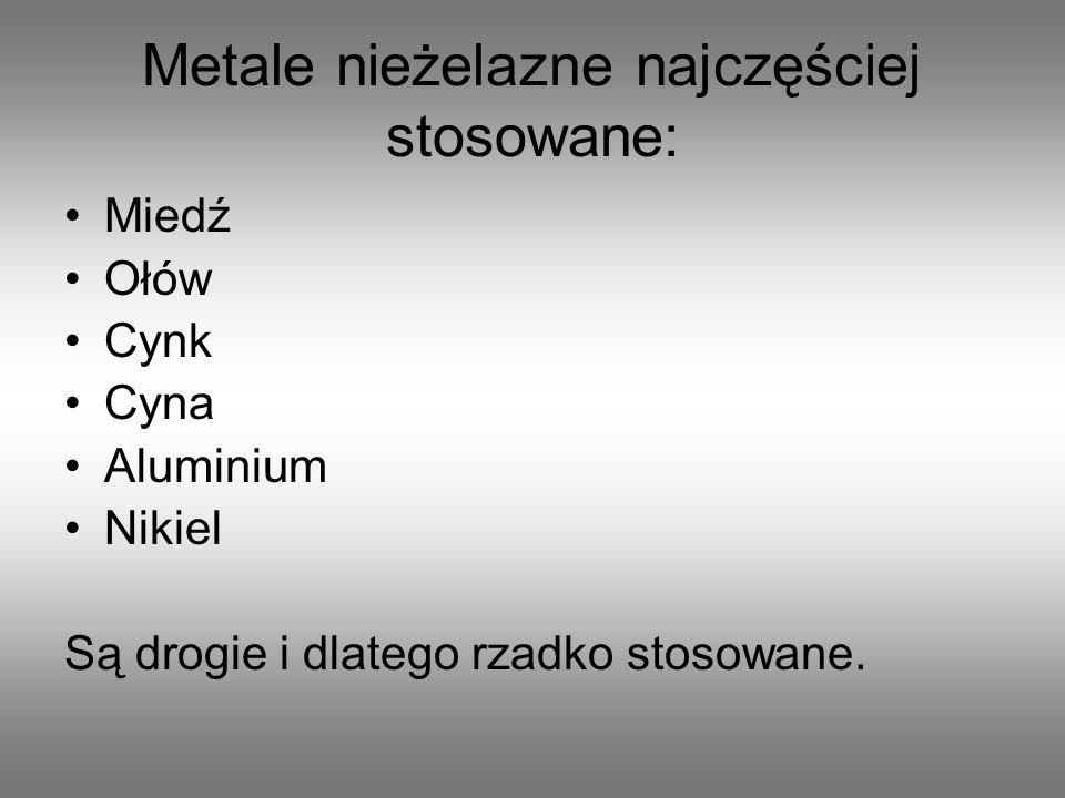 Metale nieżelazne przerabia się plastycznie na wyroby walcowane: Blacha cynkowa Rury miedziane Pręty aluminiowe