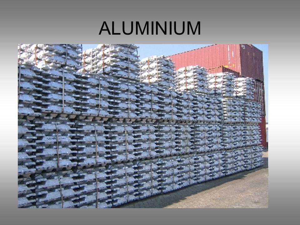 ALUMINIUM Barwa srebrzystobiała Metal lekki Odporny na działanie czynników atmosferycznych Odporny na działanie kwasów organicznych, alkoholi i tłuszc