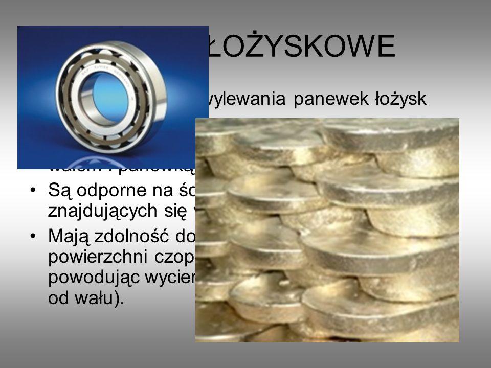 STOPY ŁOŻYSKOWE Stosowane są do wylewania panewek łożysk ślizgowych. Zapewniają mały współczynnik tarcia między wałem i panewką Są odporne na ścierani