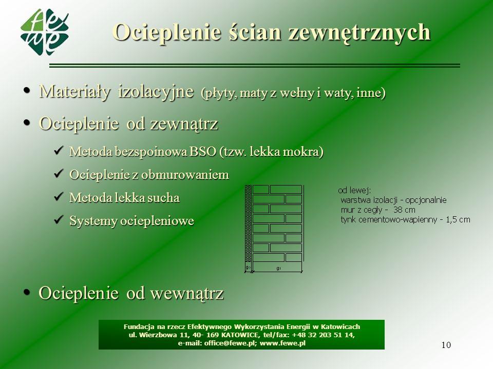 10 Ocieplenie ścian zewnętrznych Fundacja na rzecz Efektywnego Wykorzystania Energii w Katowicach ul. Wierzbowa 11, 40- 169 KATOWICE, tel/fax: +48 32