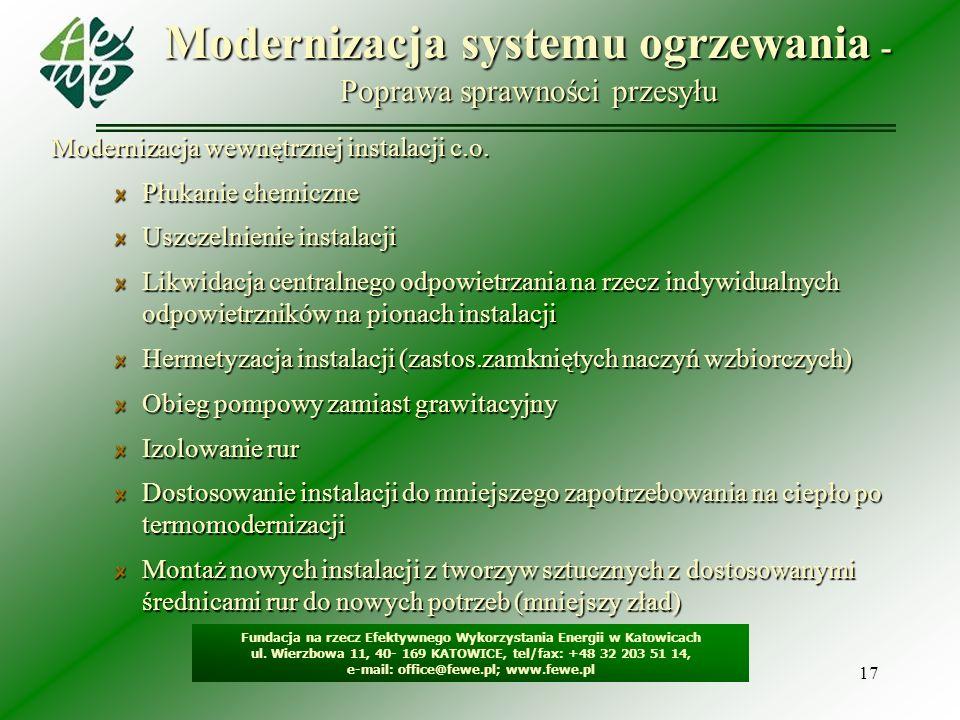 17 Modernizacja systemu ogrzewania - Poprawa sprawności przesyłu Fundacja na rzecz Efektywnego Wykorzystania Energii w Katowicach ul. Wierzbowa 11, 40