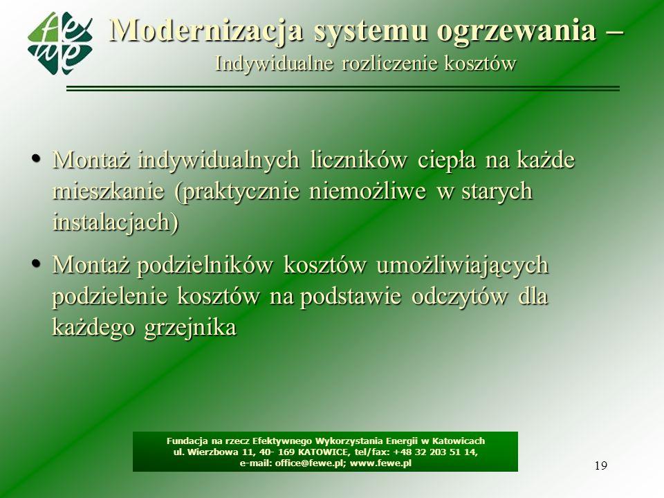 19 Modernizacja systemu ogrzewania – Indywidualne rozliczenie kosztów Fundacja na rzecz Efektywnego Wykorzystania Energii w Katowicach ul. Wierzbowa 1