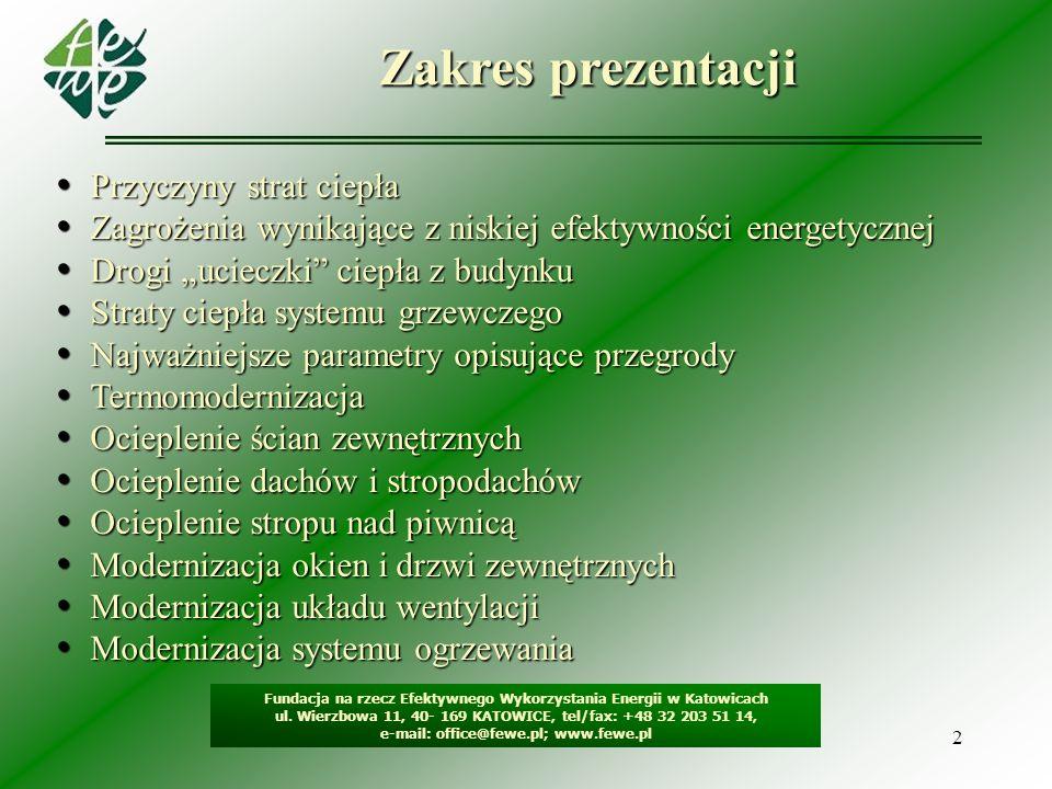 13 Modernizacja okien i drzwi zewnętrznych Fundacja na rzecz Efektywnego Wykorzystania Energii w Katowicach ul.