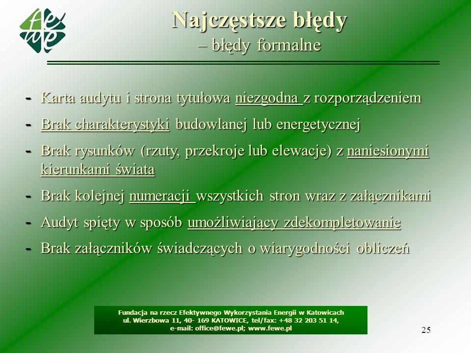 25 Najczęstsze błędy – błędy formalne Fundacja na rzecz Efektywnego Wykorzystania Energii w Katowicach ul. Wierzbowa 11, 40- 169 KATOWICE, tel/fax: +4