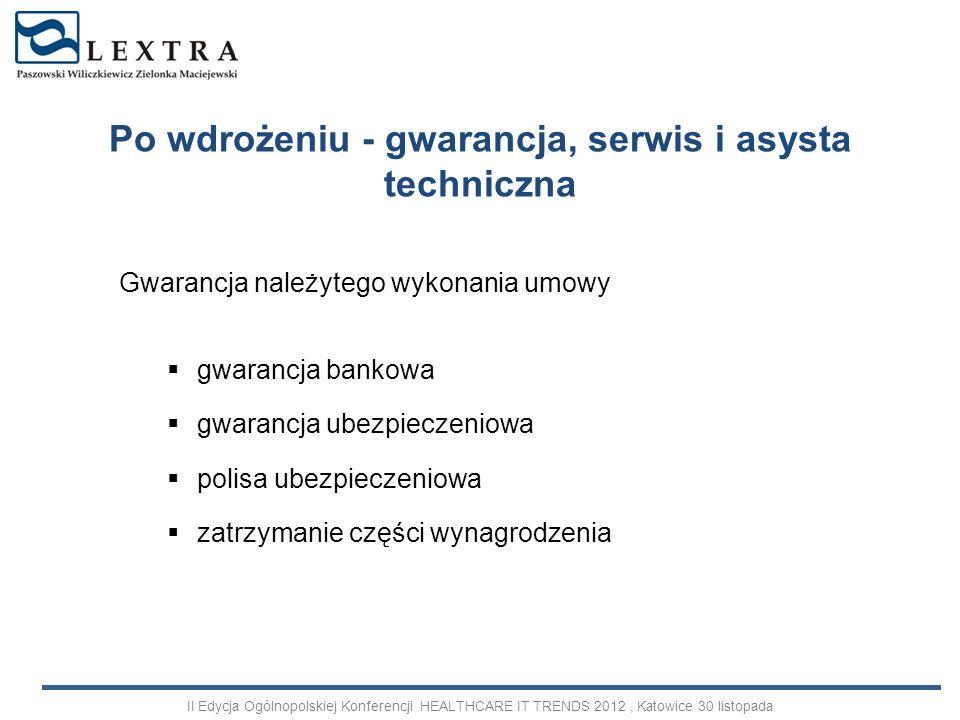 Gwarancja należytego wykonania umowy gwarancja bankowa gwarancja ubezpieczeniowa polisa ubezpieczeniowa zatrzymanie części wynagrodzenia Po wdrożeniu