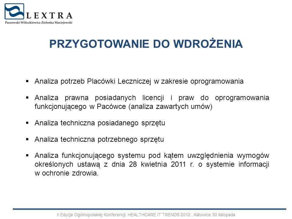 PRZYGOTOWANIE DO WDROŻENIA II Edycja Ogólnopolskiej Konferencji HEALTHCARE IT TRENDS 2012, Katowice 30 listopada Analiza potrzeb Placówki Leczniczej w