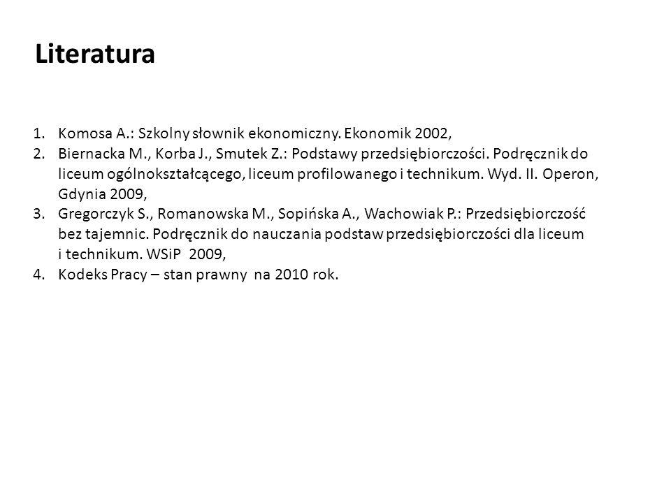 Literatura 1.Komosa A.: Szkolny słownik ekonomiczny. Ekonomik 2002, 2.Biernacka M., Korba J., Smutek Z.: Podstawy przedsiębiorczości. Podręcznik do li