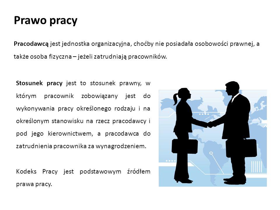Prawo pracy Pracodawcą jest jednostka organizacyjna, choćby nie posiadała osobowości prawnej, a także osoba fizyczna – jeżeli zatrudniają pracowników.