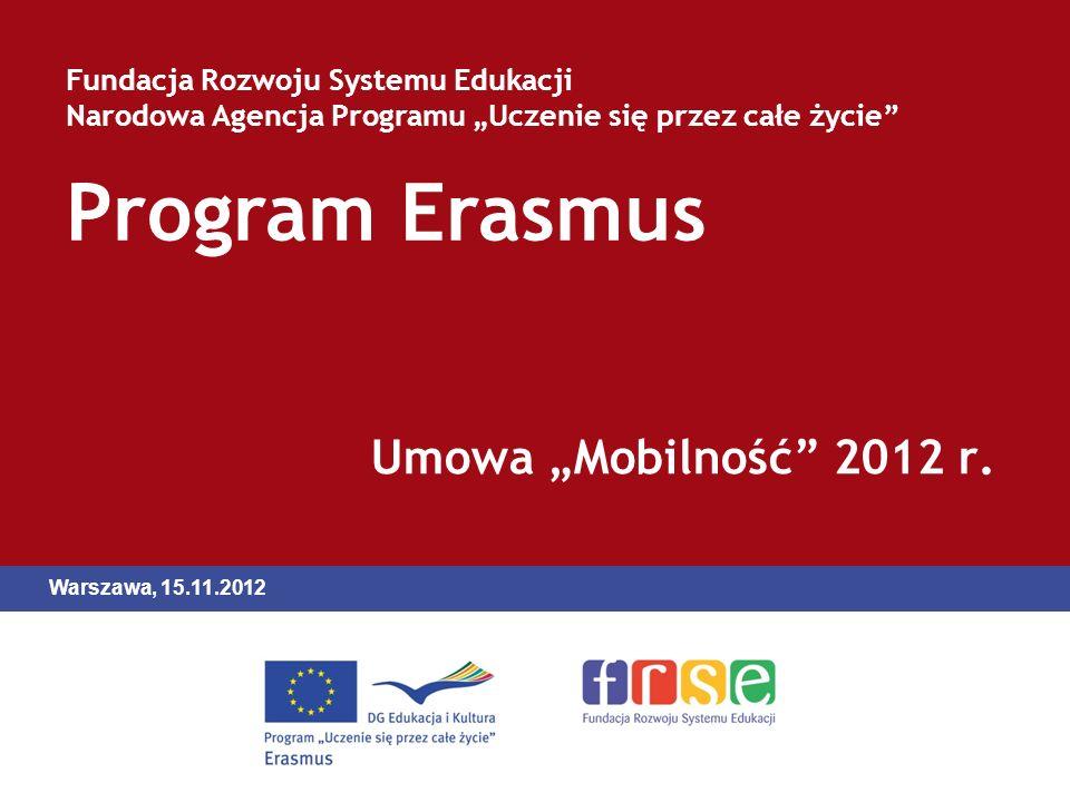 Program Erasmus Fundacja Rozwoju Systemu Edukacji Narodowa Agencja Programu Uczenie się przez całe życie Umowa Mobilność 2012 r.