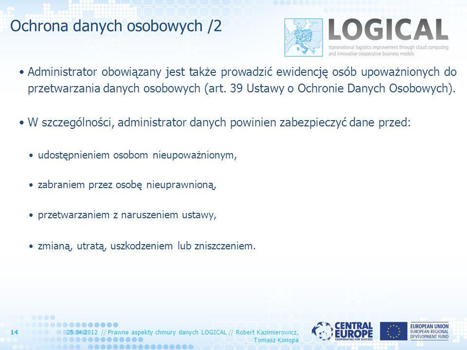 Ochrona danych osobowych /2 Administrator obowiązany jest także prowadzić ewidencję osób upoważnionych do przetwarzania danych osobowych (art. 39 Usta