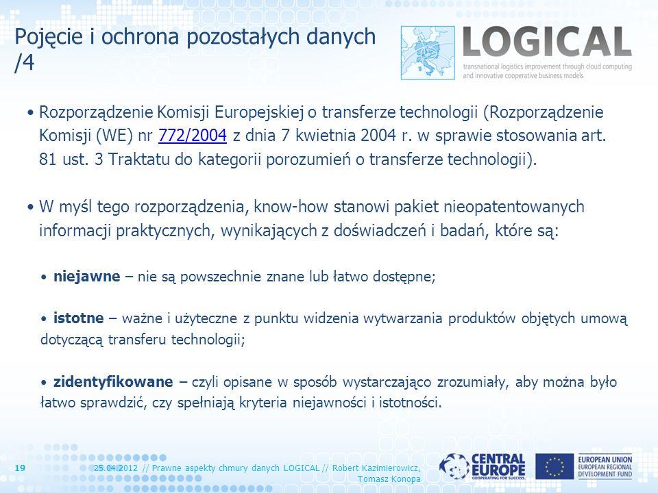 Pojęcie i ochrona pozostałych danych /4 Rozporządzenie Komisji Europejskiej o transferze technologii (Rozporządzenie Komisji (WE) nr 772/2004 z dnia 7