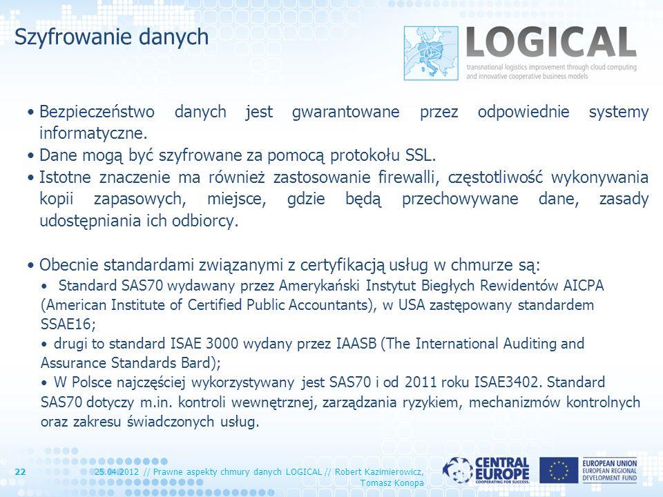 Szyfrowanie danych Bezpieczeństwo danych jest gwarantowane przez odpowiednie systemy informatyczne. Dane mogą być szyfrowane za pomocą protokołu SSL.
