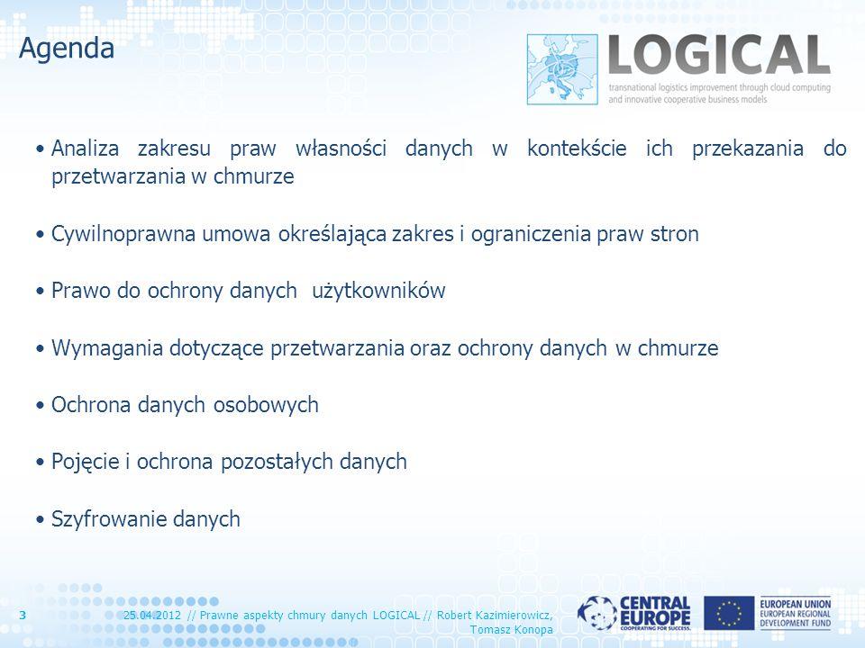 Agenda Analiza zakresu praw własności danych w kontekście ich przekazania do przetwarzania w chmurze Cywilnoprawna umowa określająca zakres i ogranicz