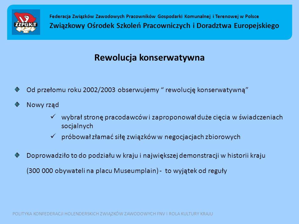Rewolucja konserwatywna Od przełomu roku 2002/2003 obserwujemy rewolucję konserwatywną Nowy rząd wybrał stronę pracodawców i zaproponował duże cięcia