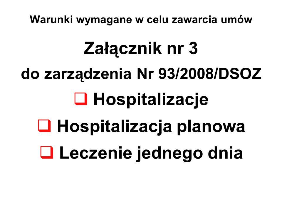 Warunki wymagane w celu zawarcia umów Załącznik nr 3 do zarządzenia Nr 93/2008/DSOZ Hospitalizacje Hospitalizacja planowa Leczenie jednego dnia
