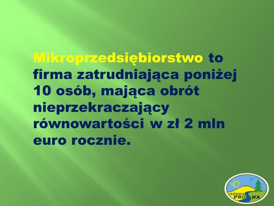 Mikroprzedsiębiorstwo to firma zatrudniająca poniżej 10 osób, mająca obrót nieprzekraczający równowartości w zł 2 mln euro rocznie.