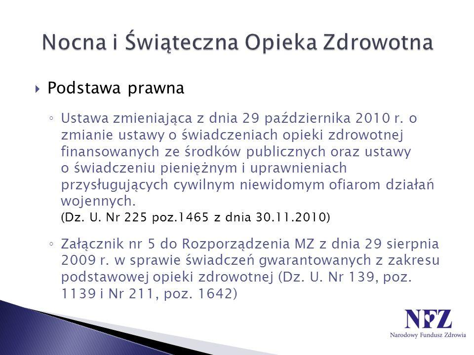 Podstawa prawna Ustawa zmieniająca z dnia 29 października 2010 r. o zmianie ustawy o świadczeniach opieki zdrowotnej finansowanych ze środków publiczn