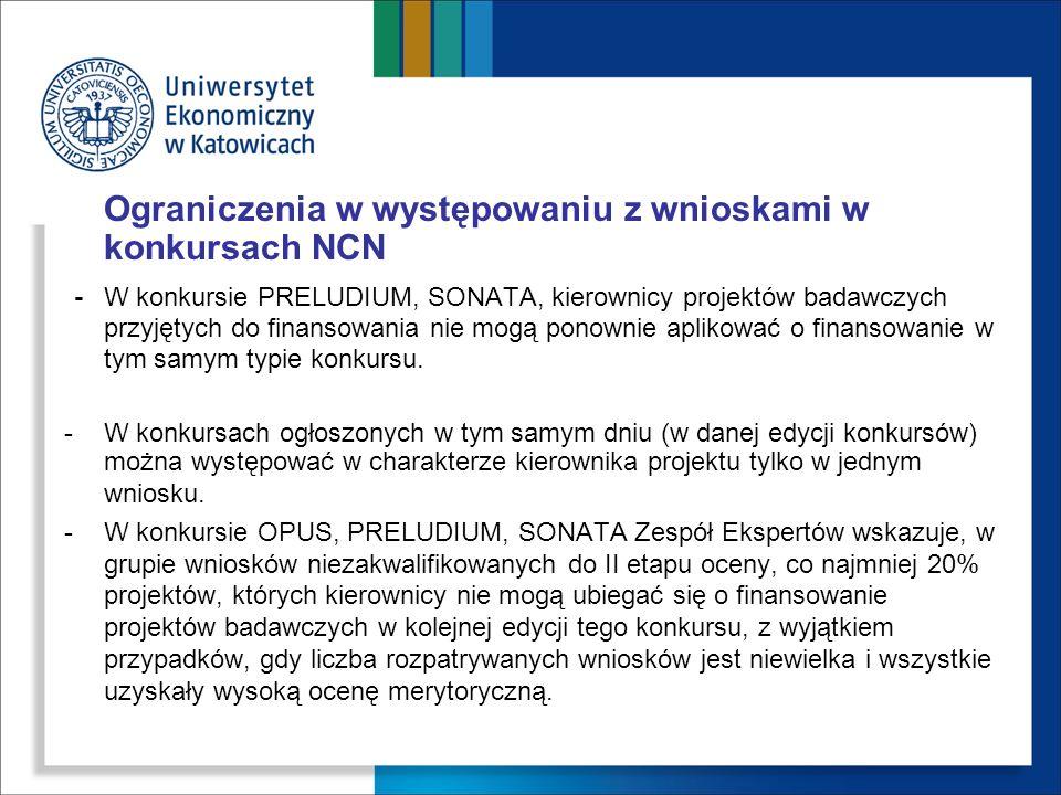 Ograniczenia w występowaniu z wnioskami w konkursach NCN -W konkursie PRELUDIUM, SONATA, kierownicy projektów badawczych przyjętych do finansowania ni