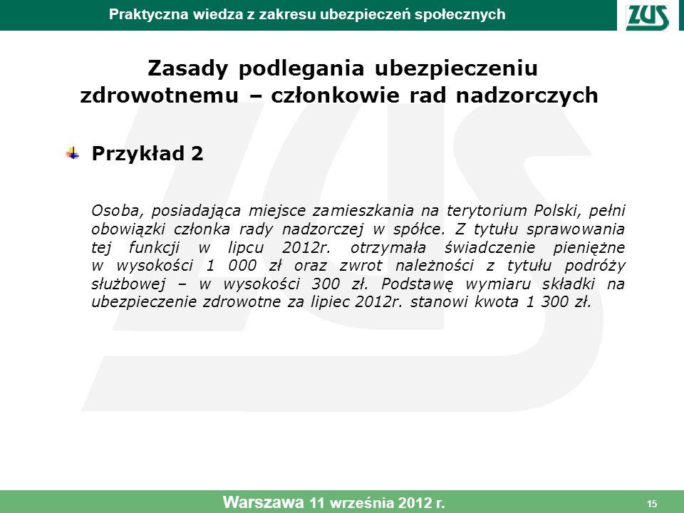 15 Zasady podlegania ubezpieczeniu zdrowotnemu – członkowie rad nadzorczych Przykład 2 Osoba, posiadająca miejsce zamieszkania na terytorium Polski, p