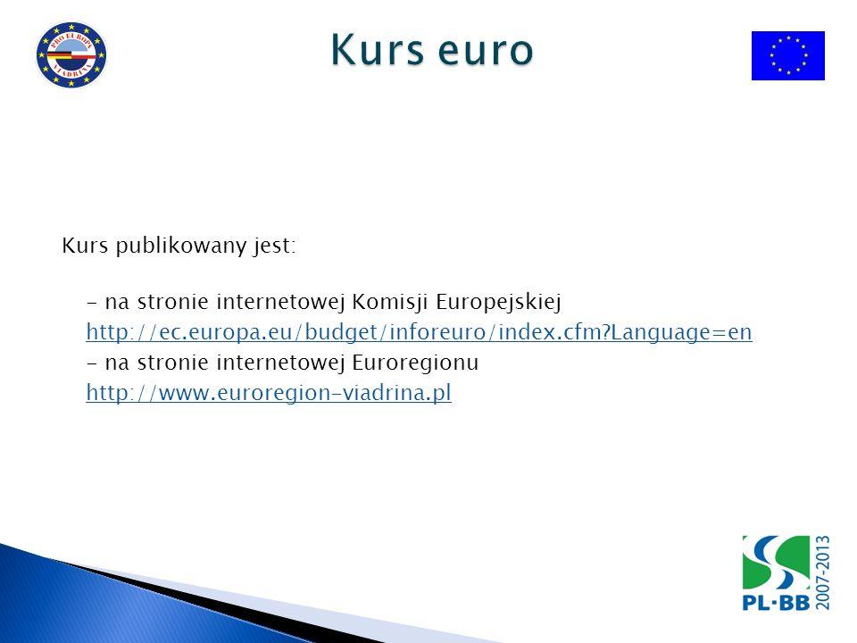 Kurs publikowany jest: - na stronie internetowej Komisji Europejskiej http://ec.europa.eu/budget/inforeuro/index.cfm?Language=en - na stronie internet