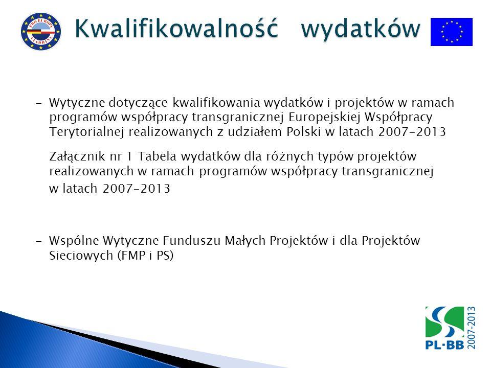 -Wytyczne dotyczące kwalifikowania wydatków i projektów w ramach programów współpracy transgranicznej Europejskiej Współpracy Terytorialnej realizowanych z udziałem Polski w latach 2007-2013 Załącznik nr 1 Tabela wydatków dla różnych typów projektów realizowanych w ramach programów współpracy transgranicznej w latach 2007-2013 - Wspólne Wytyczne Funduszu Małych Projektów i dla Projektów Sieciowych (FMP i PS)