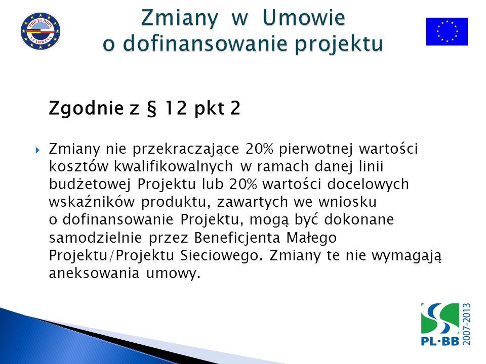 Zgodnie z § 12 pkt 2 Zmiany nie przekraczające 20% pierwotnej wartości kosztów kwalifikowalnych w ramach danej linii budżetowej Projektu lub 20% wartości docelowych wskaźników produktu, zawartych we wniosku o dofinansowanie Projektu, mogą być dokonane samodzielnie przez Beneficjenta Małego Projektu/Projektu Sieciowego.