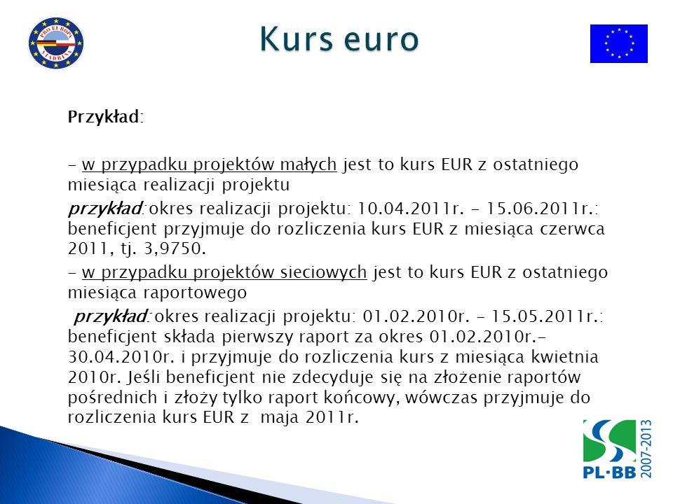Kurs publikowany jest: - na stronie internetowej Komisji Europejskiej http://ec.europa.eu/budget/inforeuro/index.cfm?Language=en - na stronie internetowej Euroregionu http://www.euroregion-viadrina.pl