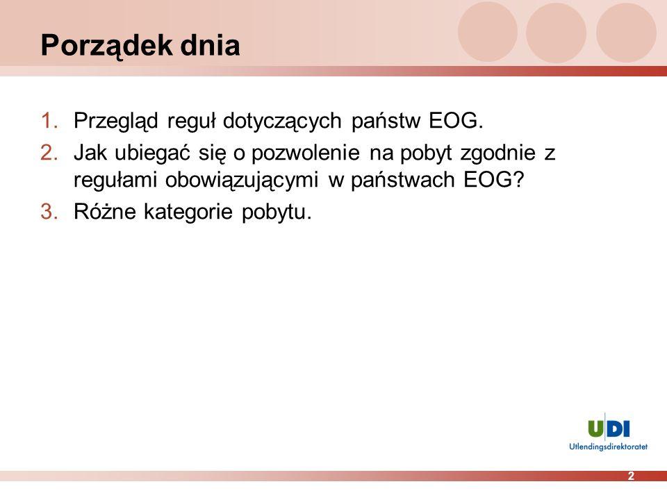 2 Porządek dnia 1.Przegląd reguł dotyczących państw EOG. 2.Jak ubiegać się o pozwolenie na pobyt zgodnie z regułami obowiązującymi w państwach EOG? 3.