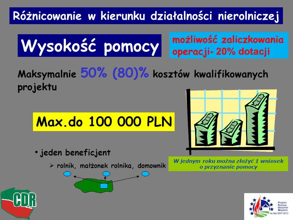 Wysokość pomocy Max.do 100 000 PLN jeden beneficjent rolnik, małżonek rolnika, domownik Maksymalnie 50% (80)% kosztów kwalifikowanych projektu Różnicowanie w kierunku działalności nierolniczej W jednym roku można złożyć 1 wniosek o przyznanie pomocy możliwość zaliczkowania operacji - 20% dotacji