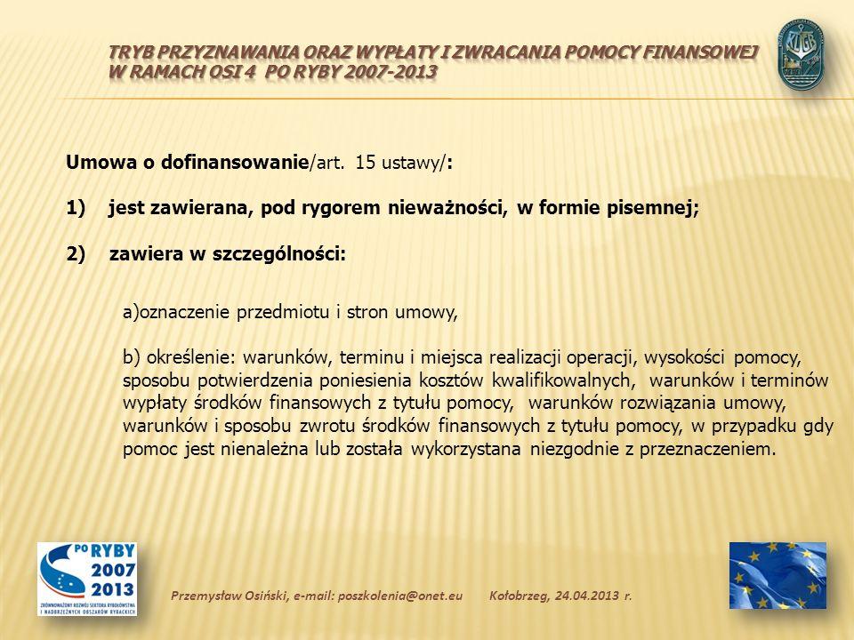 Umowa o dofinansowanie/art.