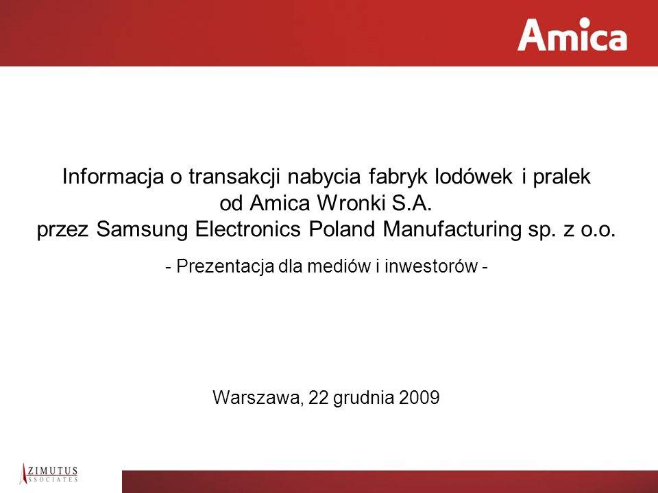 2 Amica Wronki S.A. przed transakcją Parametry transakcji Amica Wronki S.A. po transakcji