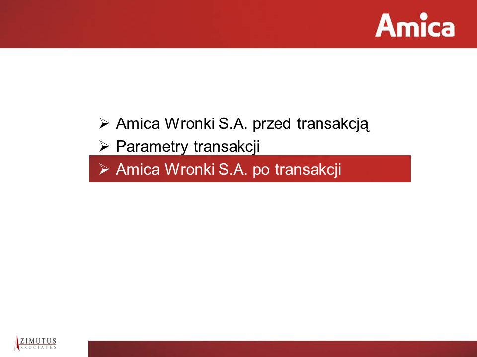 9 Zalety transakcji dla Amiki Uzyskana cena w wysokości 204,5 mln PLN za zbywane fabryki pralek i lodówek.