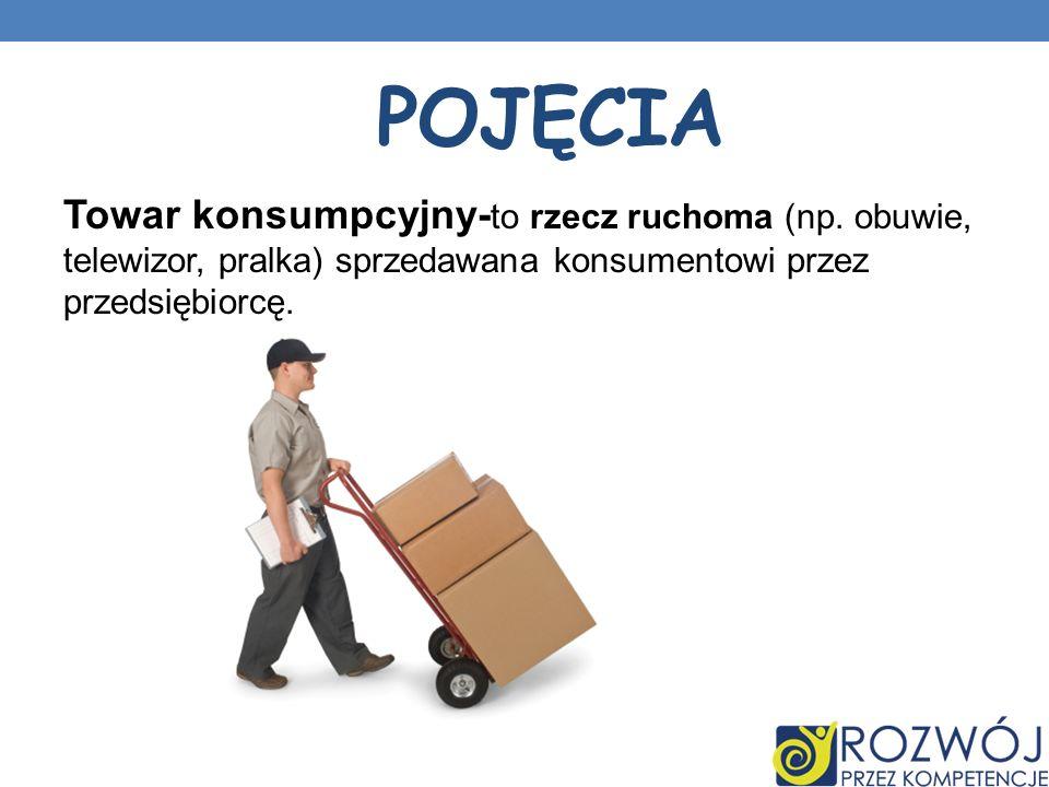 Towar konsumpcyjny- to rzecz ruchoma (np. obuwie, telewizor, pralka) sprzedawana konsumentowi przez przedsiębiorcę. POJĘCIA
