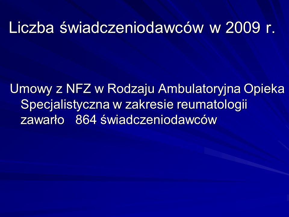 Liczba świadczeniodawców w 2009 r.