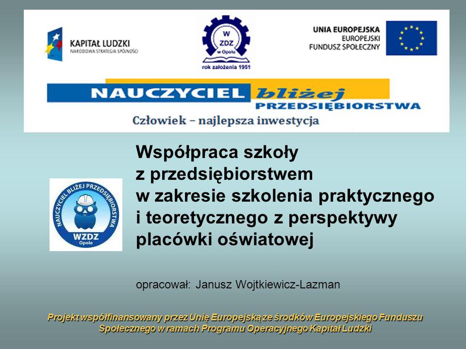 Projekt współfinansowany przez Unię Europejską ze środków Europejskiego Funduszu Społecznego w ramach Programu Operacyjnego Kapitał Ludzki Współpraca