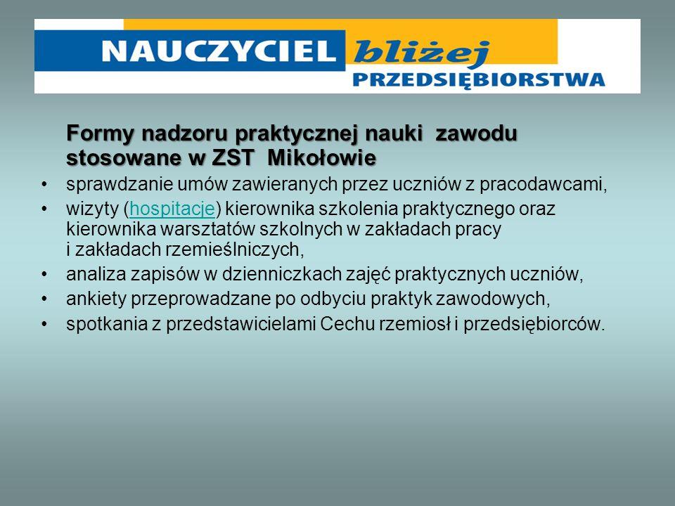 Formy nadzoru praktycznej nauki zawodu stosowane w ZST Mikołowie sprawdzanie umów zawieranych przez uczniów z pracodawcami, wizyty (hospitacje) kierow