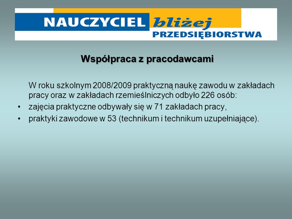 Współpraca z pracodawcami W roku szkolnym 2008/2009 praktyczną naukę zawodu w zakładach pracy oraz w zakładach rzemieślniczych odbyło 226 osób: zajęci