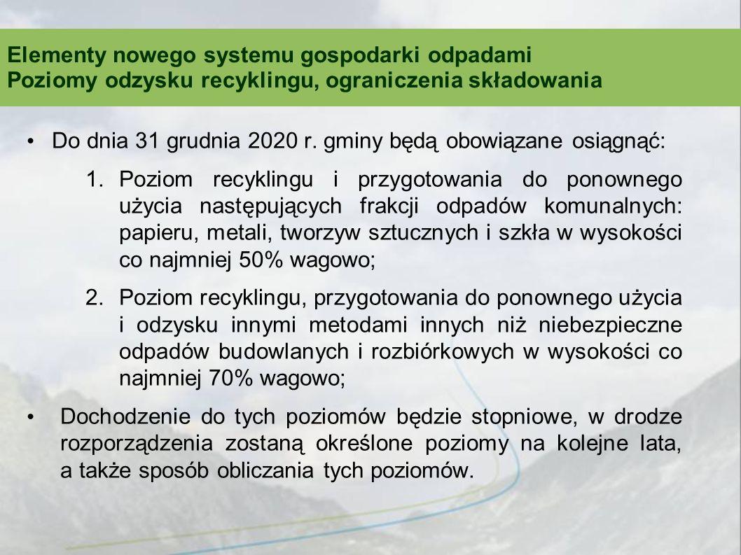 Do dnia 31 grudnia 2020 r. gminy będą obowiązane osiągnąć: 1.Poziom recyklingu i przygotowania do ponownego użycia następujących frakcji odpadów komun