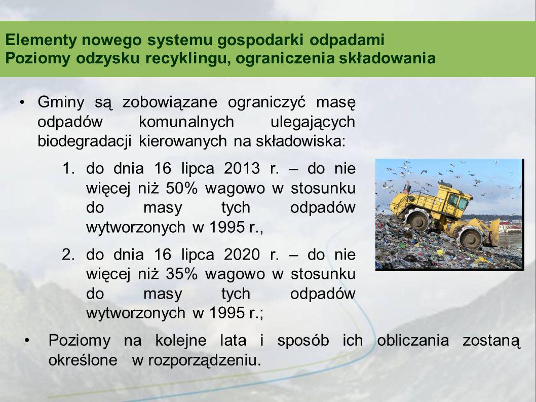 Gminy są zobowiązane ograniczyć masę odpadów komunalnych ulegających biodegradacji kierowanych na składowiska: 1.do dnia 16 lipca 2013 r. – do nie wię