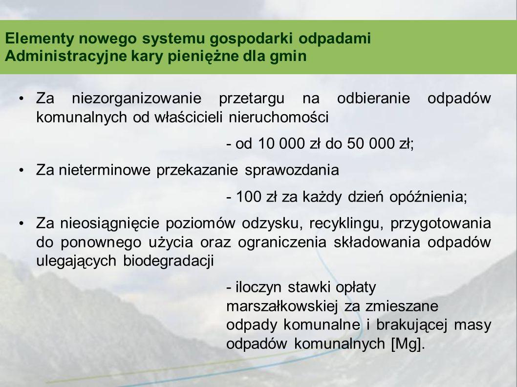 Za niezorganizowanie przetargu na odbieranie odpadów komunalnych od właścicieli nieruchomości - od 10 000 zł do 50 000 zł; Za nieterminowe przekazanie