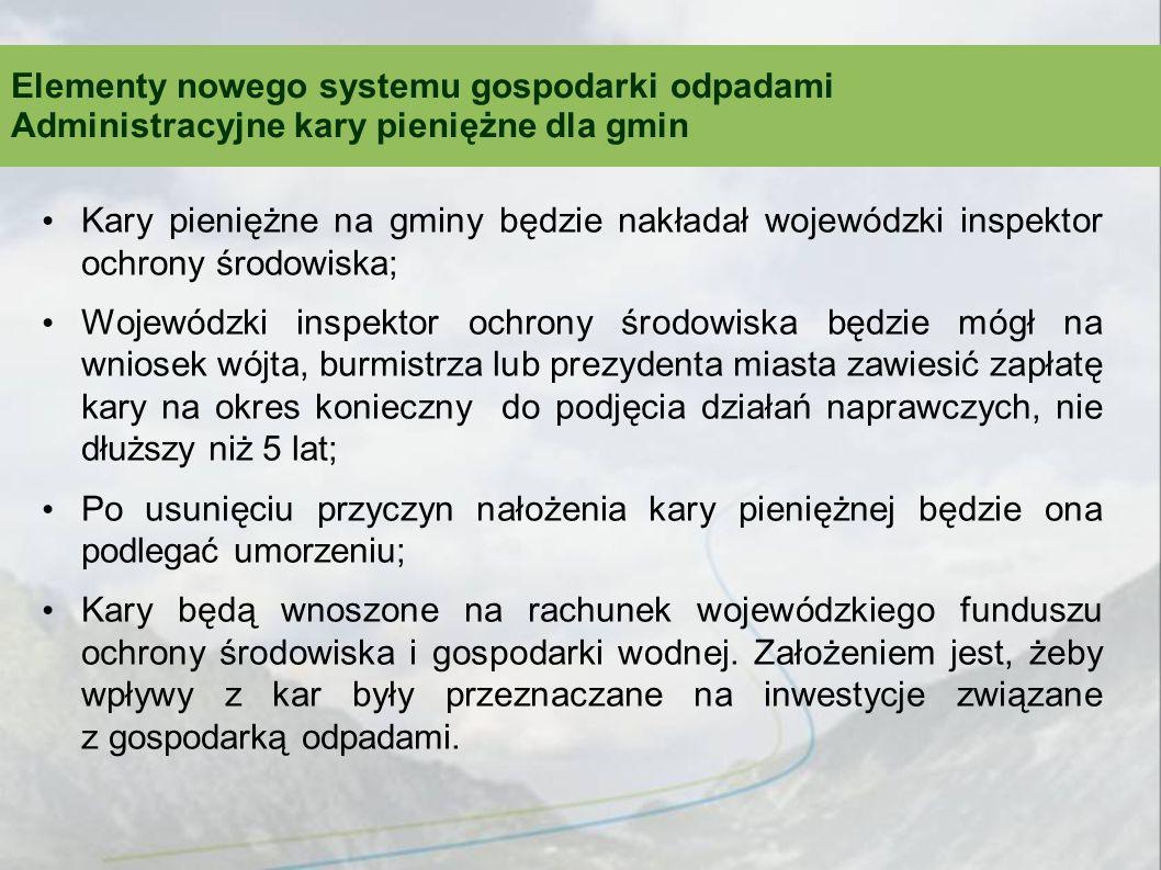 Kary pieniężne na gminy będzie nakładał wojewódzki inspektor ochrony środowiska; Wojewódzki inspektor ochrony środowiska będzie mógł na wniosek wójta,