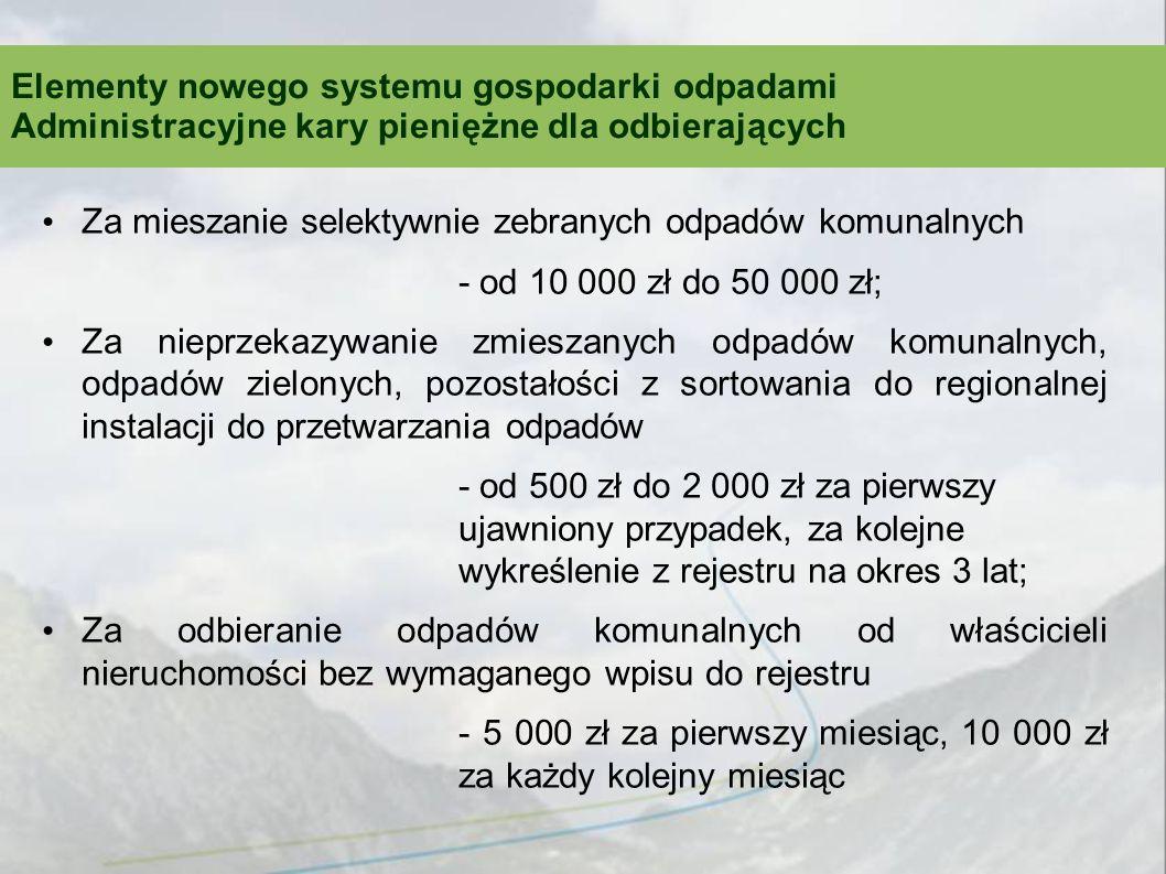Za mieszanie selektywnie zebranych odpadów komunalnych - od 10 000 zł do 50 000 zł; Za nieprzekazywanie zmieszanych odpadów komunalnych, odpadów zielo