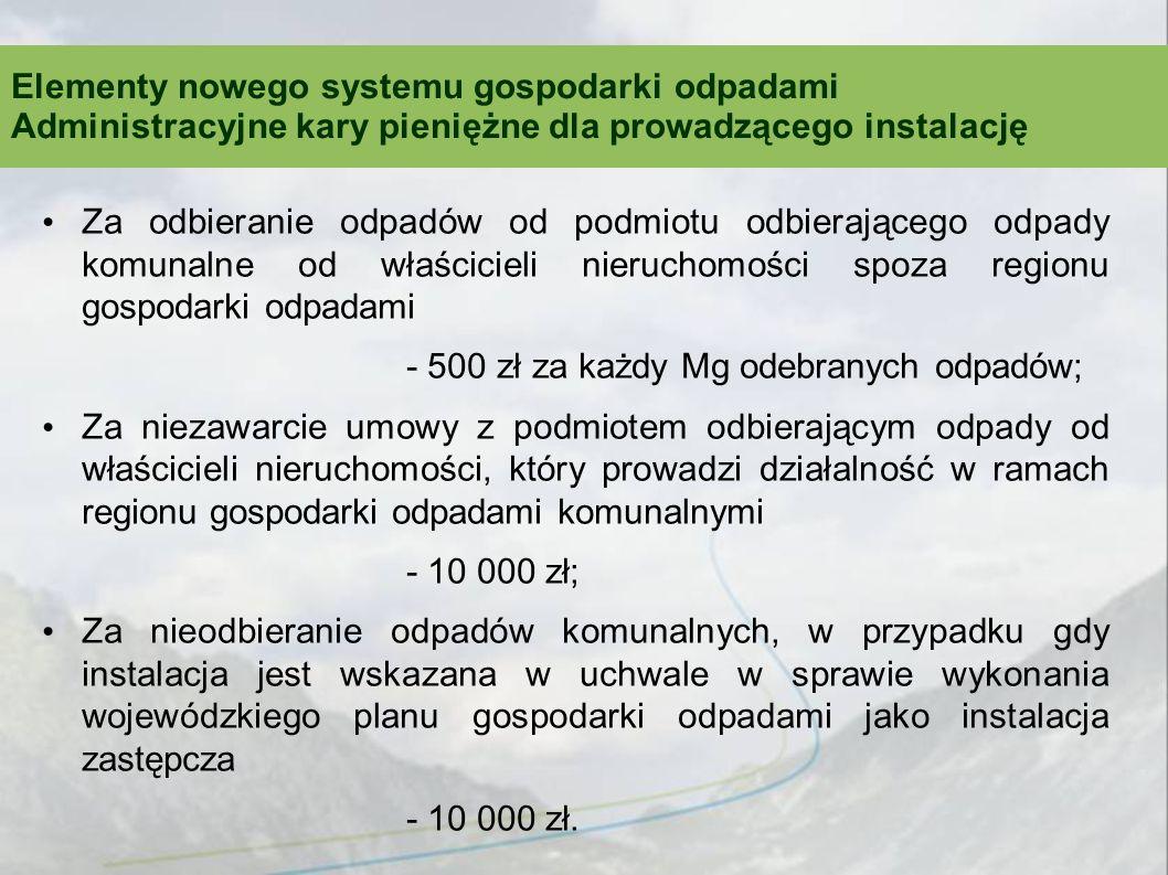 Za odbieranie odpadów od podmiotu odbierającego odpady komunalne od właścicieli nieruchomości spoza regionu gospodarki odpadami - 500 zł za każdy Mg o