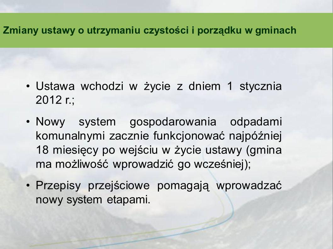 Ustawa wchodzi w życie z dniem 1 stycznia 2012 r.; Nowy system gospodarowania odpadami komunalnymi zacznie funkcjonować najpóźniej 18 miesięcy po wejś