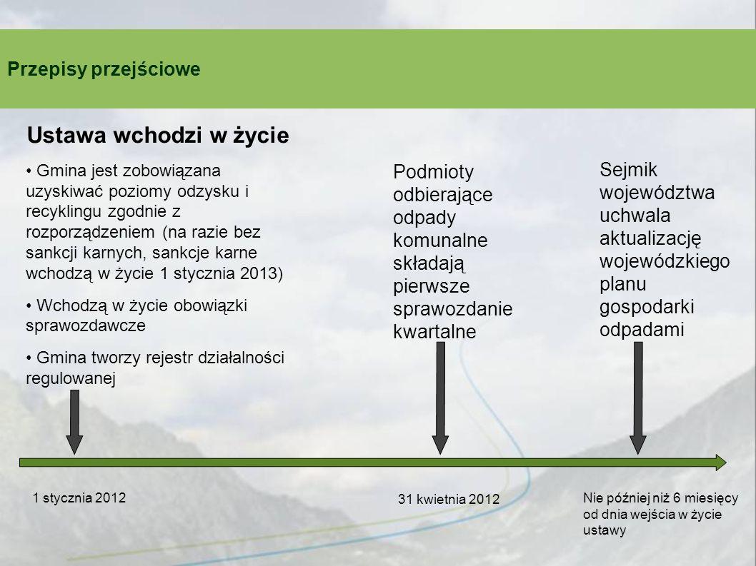 Przepisy przejściowe 1 stycznia 2012 Ustawa wchodzi w życie Gmina jest zobowiązana uzyskiwać poziomy odzysku i recyklingu zgodnie z rozporządzeniem (n