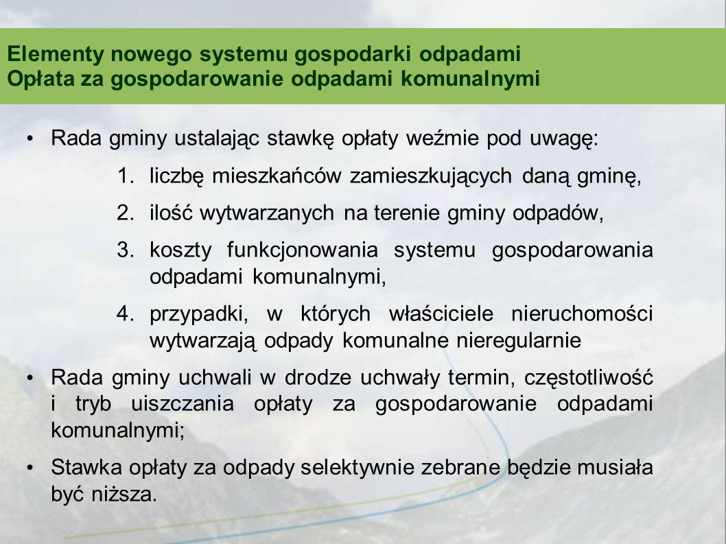 Rada gminy ustalając stawkę opłaty weźmie pod uwagę: 1.liczbę mieszkańców zamieszkujących daną gminę, 2.ilość wytwarzanych na terenie gminy odpadów, 3