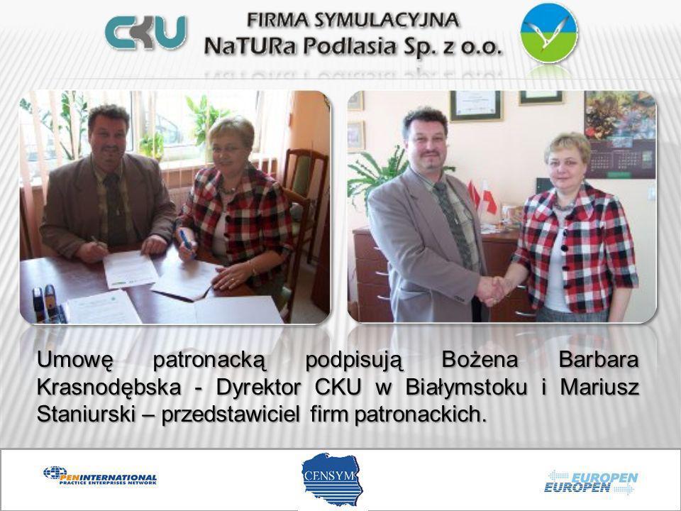 Umowę patronacką podpisują Bożena Barbara Krasnodębska - Dyrektor CKU w Białymstoku i Mariusz Staniurski – przedstawiciel firm patronackich.